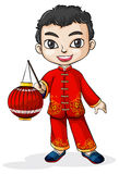 A smiling Chinese with a lantern Stock Photo