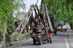 Pengzhou, China: Man Driving Motorcycle Cart Stock Images