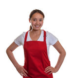 Smiling chinese waitress is ready to start. Smiling chinese waitress on a white background is ready to start with her work Stock Images