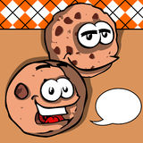 Smiling chocolate chip cookies with speech bubble Royalty Free Stock Photography