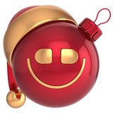 Smiling Christmas ball Happy New Year smile bauble. Santa hat smiley face icon decoration red gold. Wintertime emoticon. Merry Xmas cartoon character toy royalty free illustration