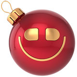 Smiling Christmas ball smiley New Year bauble. Smile face decoration icon. Wintertime celebration emoticon. Merry Xmas positive cartoon happy character concept Stock Photos