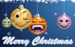 Smiling christmas balls Royalty Free Stock Photo