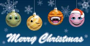 Smiling christmas balls Stock Photos