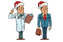 Smiling Christmas doctor and businessman Royalty Free Stock Images