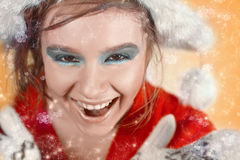 Smiling christmas girl Stock Photos