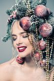 Smiling christmas girl Stock Photos