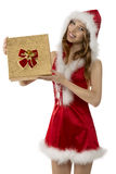 Smiling christmas girl with gift box Royalty Free Stock Photos