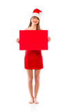 Smiling christmas girl with red placard on white Royalty Free Stock Photo