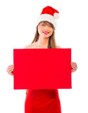 Smiling christmas girl with red placard on white Stock Photo