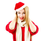 Smiling Christmas Girl in Red Winter Clothes on White Stock Images