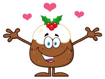 Smiling Christmas Pudding Cartoon Character With Open Arms And Hearts Stock Photos