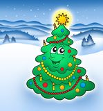 Smiling Christmas tree 2. Smiling Christmas tree in snowy landscape - color illustration Royalty Free Stock Photos