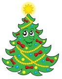 Smiling Christmas tree 2 vector. Smiling Christmas tree with ribbons - vector illustration Stock Images