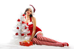 Smiling Christmas woman. Isolated on white background with a gift and a christmastree Stock Image