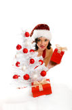 Smiling Christmas woman Stock Images