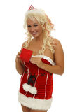 Smiling christmas woman giving a gift Stock Photo