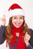 Smiling Christmas woman on white Royalty Free Stock Photos