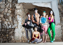 Smiling Cirque Troupe. Posing in outdoor stage Royalty Free Stock Images