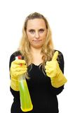 Smiling cleaner woman with thumbs up gesture Isolated over white Stock Image