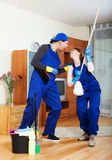 Smiling cleaning premises team at work Royalty Free Stock Photography
