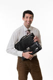 Smiling clerk with a briefcase. Royalty Free Stock Photos