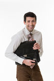 Smiling clerk with a briefcase. Stock Image