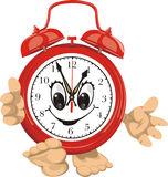 Smiling clock face - red alarm clock Stock Photo