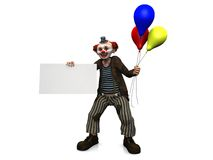 Smiling clown with balloons holding blank sign. Royalty Free Stock Image