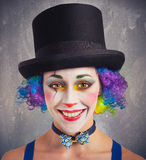 Smiling clown and colorful Stock Image
