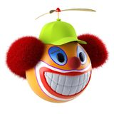 Smiling clown face emoticon sphere with funny baseball cap