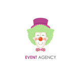 Smiling clown face line design template. Smiling clown face line icon. Perfect for circus, party service, event agency or gift shop Royalty Free Stock Photos