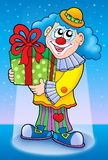 Smiling clown with gift. Color illustration Stock Photo
