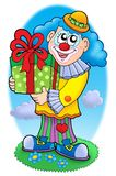 Smiling clown with gift. Color illustration Stock Photography