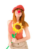 Smiling clown girl. Picture of smiling clown girl with flower Stock Photography