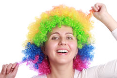 Smiling with clown hair stock photos