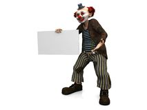 Smiling clown holding blank sign. Stock Photography