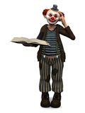 Smiling clown holding book. Royalty Free Stock Images