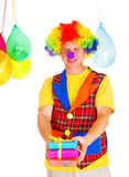 Smiling clown with presents Stock Photos