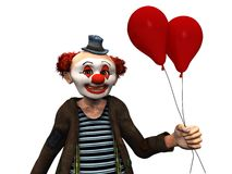Smiling clown with red balloons. Royalty Free Stock Photography