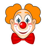 Smiling clown with red bow Stock Photo