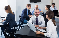 Smiling colleagues having a productive day at work Stock Image