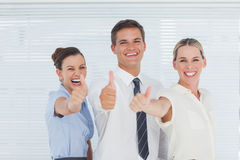 Smiling colleagues posing with thumbs up Royalty Free Stock Photo