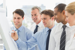 Smiling colleagues watching young businessman write on whiteboard Royalty Free Stock Image