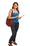 Smiling College Student Tap on Tablet PC Royalty Free Stock Photography