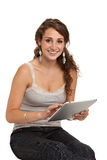 Smiling College Student Tap on Tablet PC Royalty Free Stock Photos