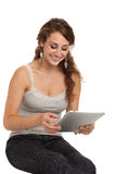 Smiling College Student Tap on Tablet PC Stock Image