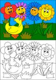 Smiling colorful flowers and duck, as coloring books for small children Royalty Free Stock Image