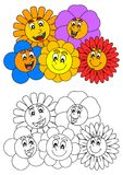 Smiling colorful flowers such as coloring books for little kids Stock Image