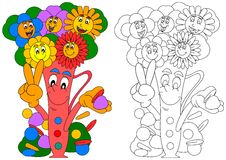 Smiling colorful flowers in a vase smiling Royalty Free Stock Images
